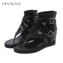 Лучший!  CHUQING 2019 Летние новые удобные сандалии на танкетке на высоком каблуке Римские женские туфли