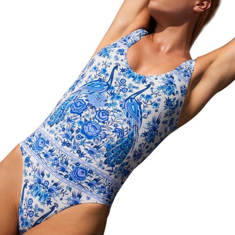 2018 Для женщин сексуальные повод-back One-piece Swimsuit-цветок/одноцветное Цвет купальник Для женщин купальник горячие источники Swimsui nznx ...