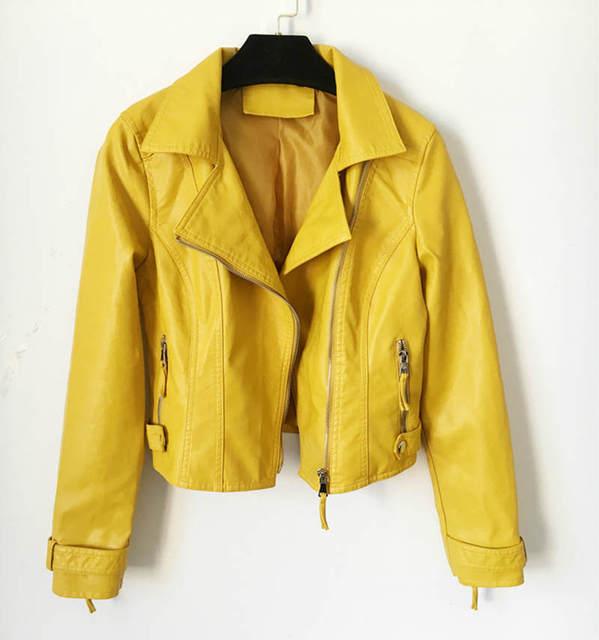 New Pu Leather Jacket Women Spring Short Slim Motorcycle Bomber