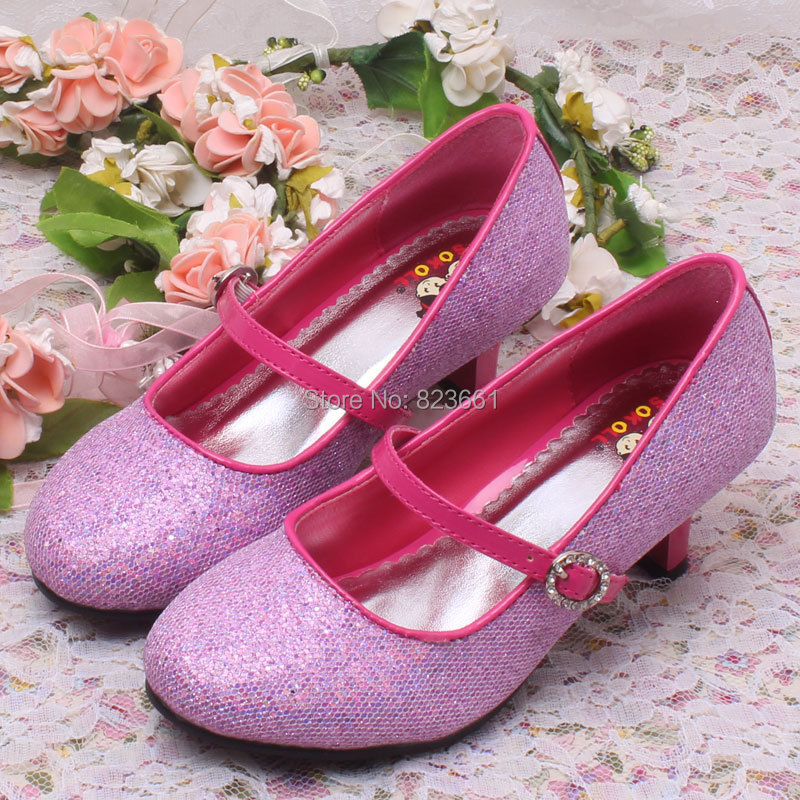 Hot Sale Children Kids High Heel Shoes Silver Wedding Shoes For ...