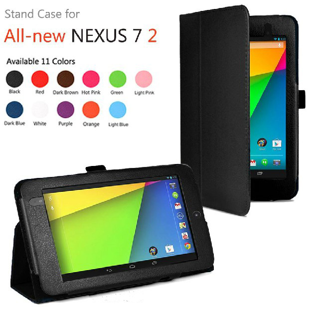 New 2-Folder Luxury Magnetic Folio Stand Leather Case Protective Cover For Google Nexus 7 II 2nd 2gen 2013 7 Tablet new 2 folder luxury magnetic folio stand