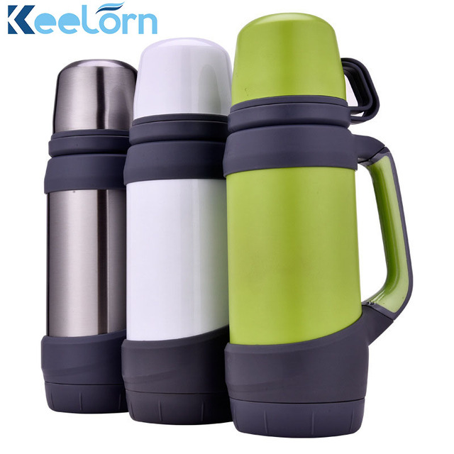 Keelorn Vacuum Flasks Thermoses Stainless Steel 08L 1L Big Size Outdoor Travel Cup Thermos Bottle