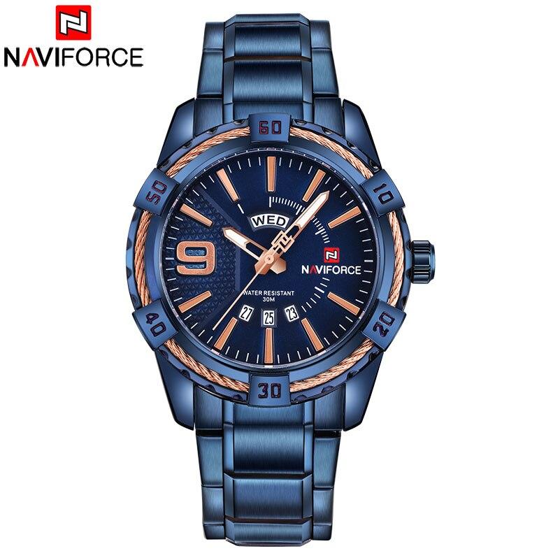 Uhren Quarz-uhren Energisch 2018 Neue Ankunft Naviforce Marke Männer Luxus Uhr Männer Sport Uhren 30 M Wasserdichte Edelstahl Analog Quarz Armbanduhren Online Rabatt
