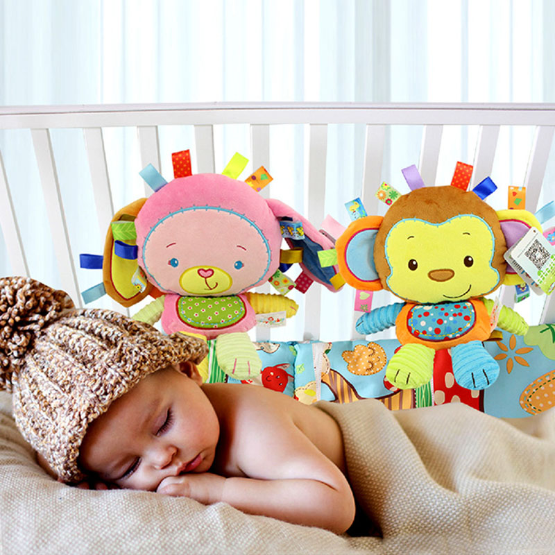 Newborns Toy Plush Rattle Baby Companion Dolls Educational Toys For Children Crib Mobile Infant Toys Animal Elephant Lion Chick