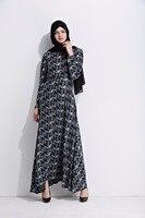 MZ Garment Woman Long Sleeve Abaya Islamic Female Muslim Apparel Ladies Geometry Printing Kaftan Long Turkish