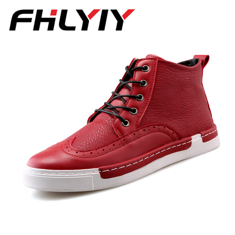 New Arrive Men Causal Shoes Autumn Winter Lace-Up Leather Ankle Boots Shoes Man Casual High Top Leather Sneakers Zapatos De mulinsen new arrive 2017 autumn winter men