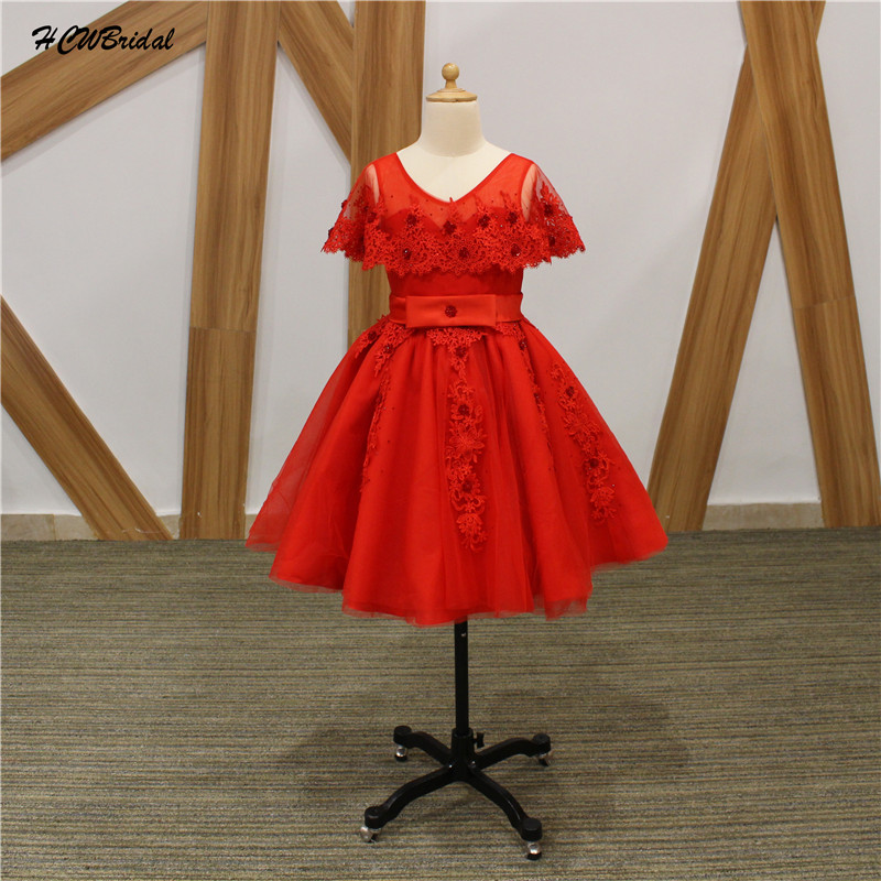 Red Ball Gown   Flower     Girl     Dress   2019 Sparkly Beaded Lace Tulle First Commuion Gowns Custom Made Junior Wedding Party   Dresses