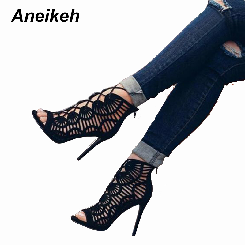 Aneikeh Summer Sandals Women Pumps Open-toed Women High Heels Shoes Fashion Serpentine Pattern Belt 11cm Thin Heels  Party Shoe