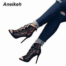 Aneikeh Summer Sandals Women Pumps Open-toed Women High Heels Shoes