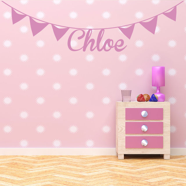 Bunting Personalised Name Wall Stickers Artistic Design Wall Decal Girls Room Removable Nursery Home Decor Wallpaper & Bunting Personalised Name Wall Stickers Artistic Design Wall Decal ...