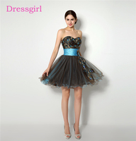2017 Feather Crystals Organza Homecoming Dresses A Line Sweetheart Short Mini Elegant Black Cocktail Dresses