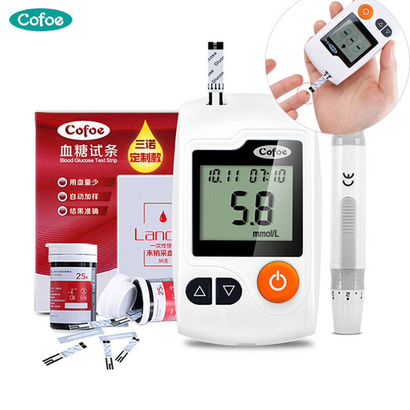 цена на Cofoe Yili Blood Glucose Meter with 50/100pcs Test Strips Lancets Medical Household Blood Sugar Instrument for Diabetes Health