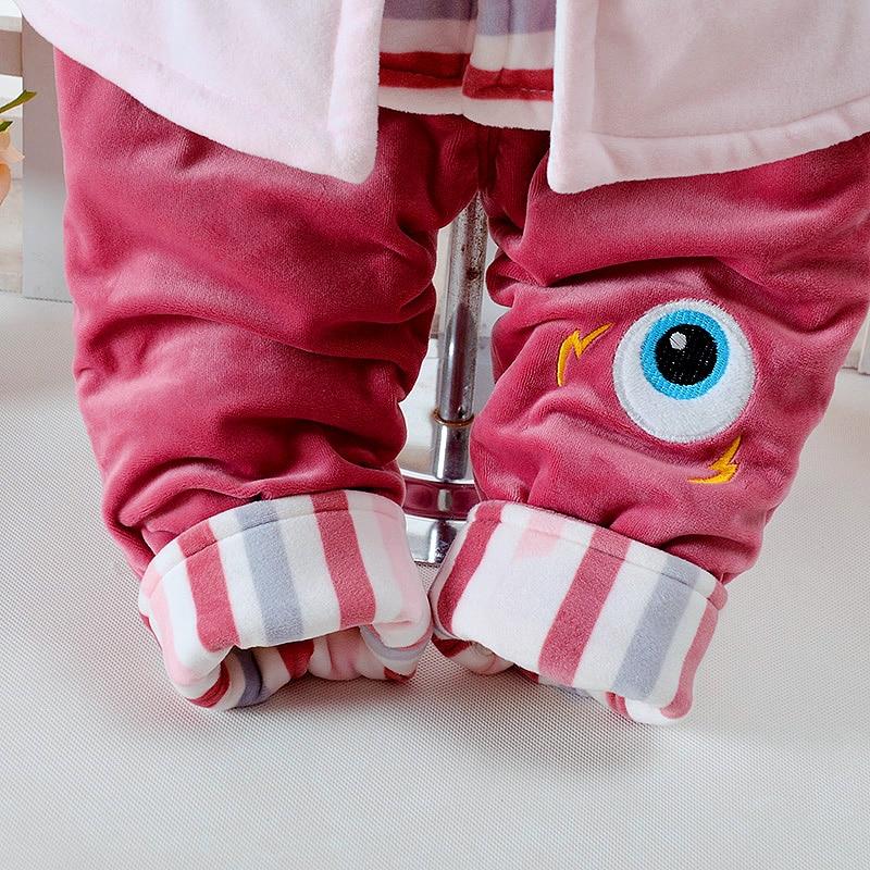 Купить с кэшбэком Autumn & Winter Newborn Girls Infant Baby's Clothes Set Monster Design Add Cotton-Padded Thick 0-2T Baby 3 pieces/Set Clothing