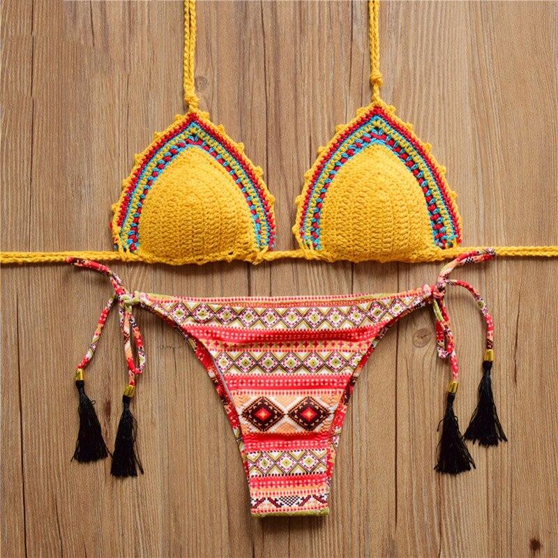 Buy Summer Sexy Halter Handmade Crochet Bikini Women Swimwear Knitting Swimsuit Floral Print Tassel Bathing Suit Low Waist Bikini