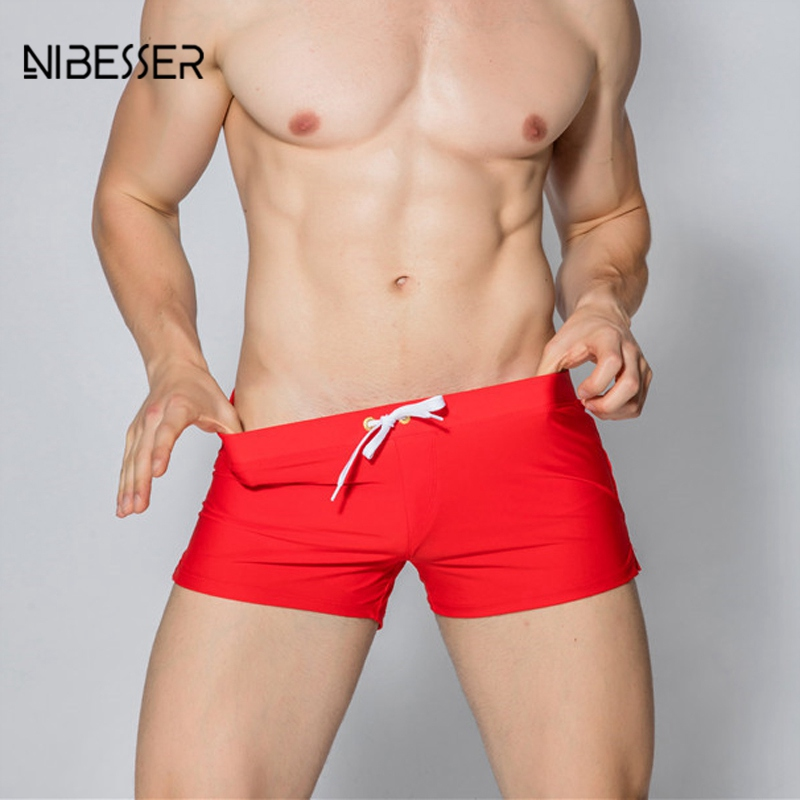 NIBESSER Men Drawstring Boxers Boys Solid Boxers Comfortable Underwear Quick Dry Quality Underpants Men Loose Soft Boxers