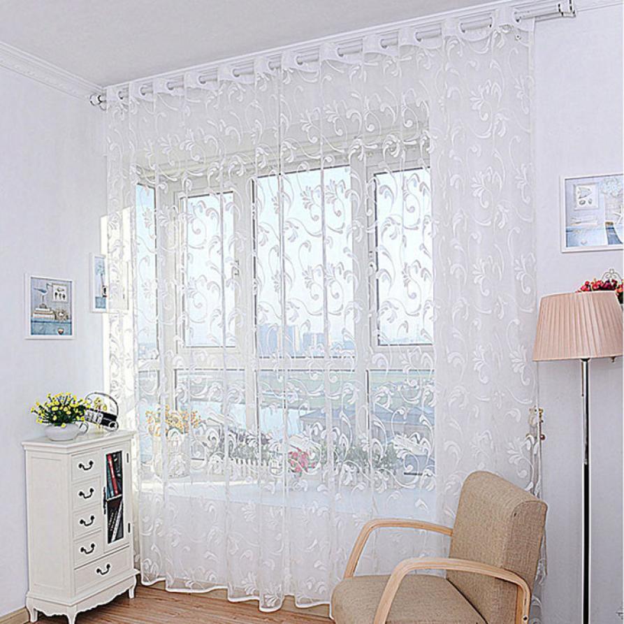 Fashion Stripe Rustic Curtain Yarn Bedroom Living Room: Fashion Elegant Flower Curtain Yarn For Bedroom Rustic