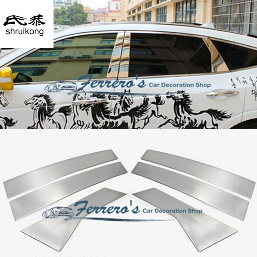 Free shipping car styling stickers for 2011 2016 Honda Crosstour window pillar trim kluger stainless steel