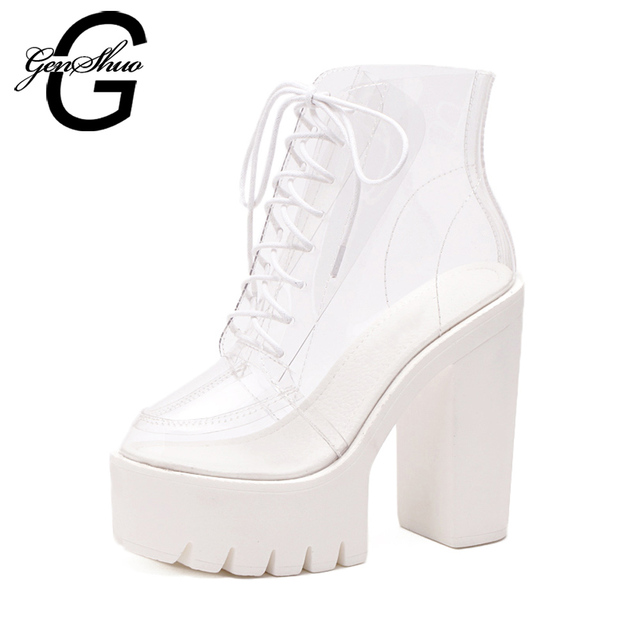 601c3a8647d GENSHUO Cool Boots Women Shoes Rain Platform Ankle Boots Black White Block  Chunky Heel Round Toe Lace Up High Heels 13cm