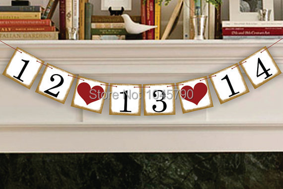 Free Shipping 1 X New Golden Side Customized Date Bunting Banner Save The Date Wedding Sign Birthday Decoration Supplies