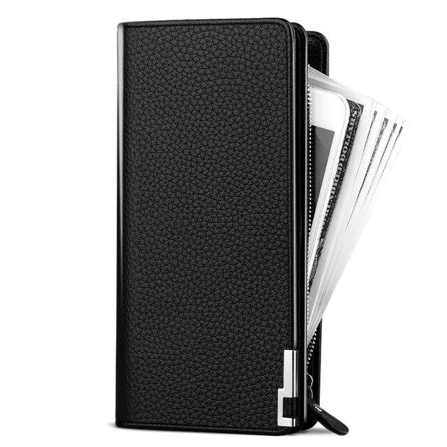 Бумажник мужчины с ремешком модные мужские кошельки молния Бизнес бумажник кошелек мужской клатч длинный кошелек многофункциональный большой емкости
