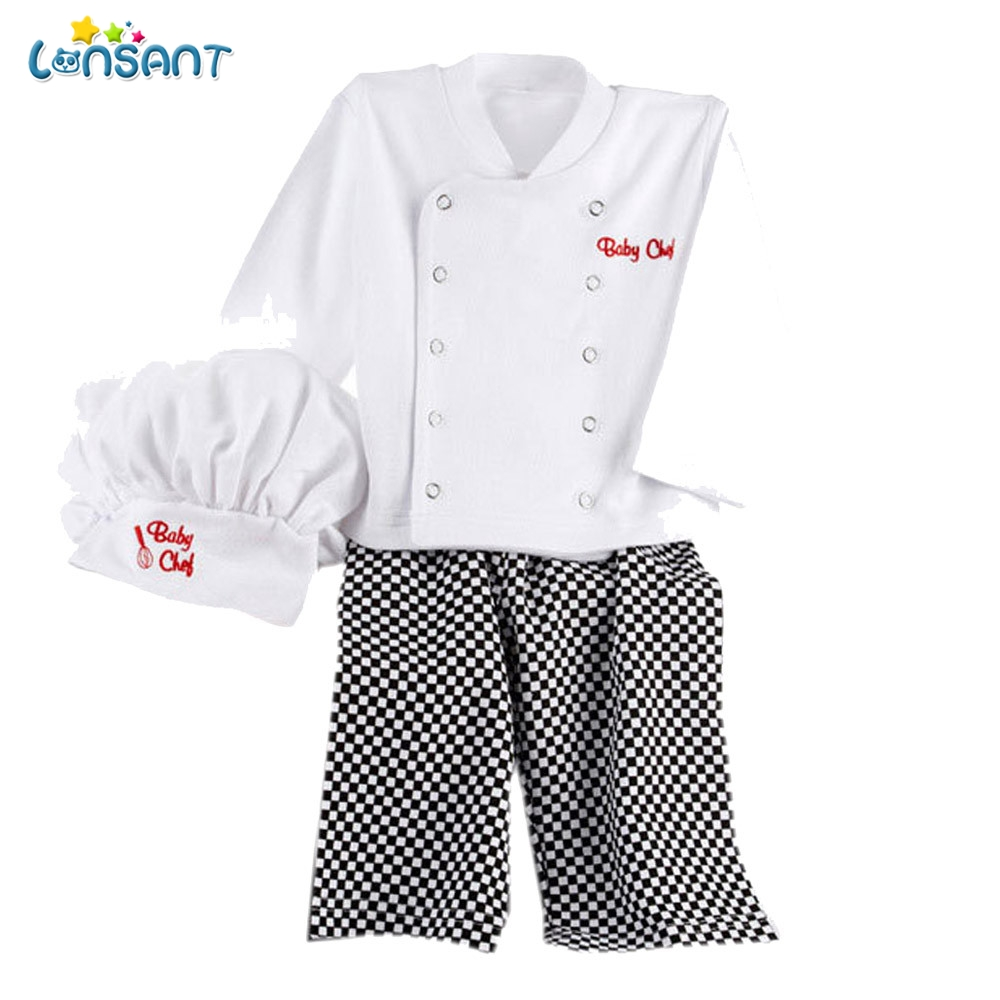 LONSANT Cute Baby Kids Clothes Set Chef Cosplay Outfits Baby Boys Baby Chef T-Shirt Tops+Pants Cap Kids Clothes Set E1640