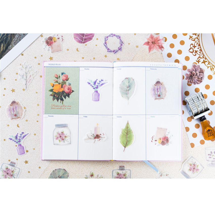 40pcs pack Kawaii Flowers Blossom Plants Flowers Paper Sticker Pack DIY Diary Scrapbooking Sticker Self adhesive Sticker in Stickers from Home Garden