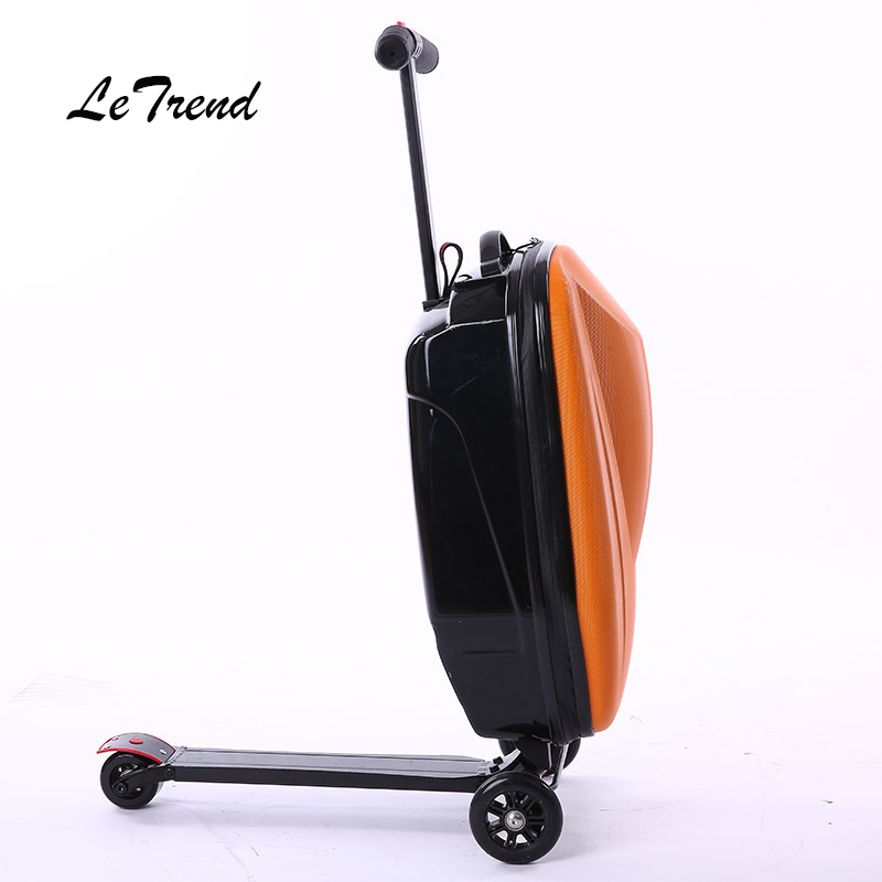 LeTtrend Micro Scooter Skateboard Rolling Luggage Fashion Trolley Business Cabin Suitcase Wheels Travel Duffle Men Carry On Bag 6 5 adult electric scooter hoverboard skateboard overboard smart balance skateboard balance board giroskuter or oxboard