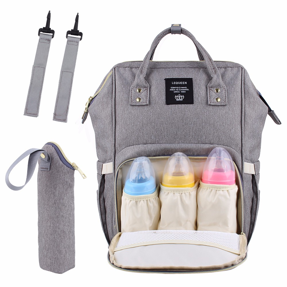 New Lequeen USB Interface Mummy Bag WaterProof Backpack Baby Diaper Bag Nipple Bottle And Straps Set Travel Nursing Bag !New Lequeen USB Interface Mummy Bag WaterProof Backpack Baby Diaper Bag Nipple Bottle And Straps Set Travel Nursing Bag !