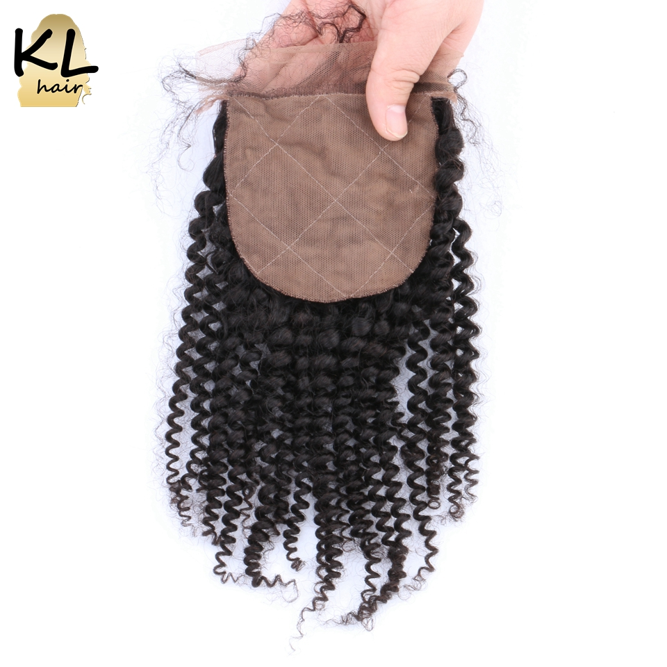 KL Silk Base Closure Kinky Curly Free Middle 3 Part Brazilian Remy Hair Silk Closure Natural