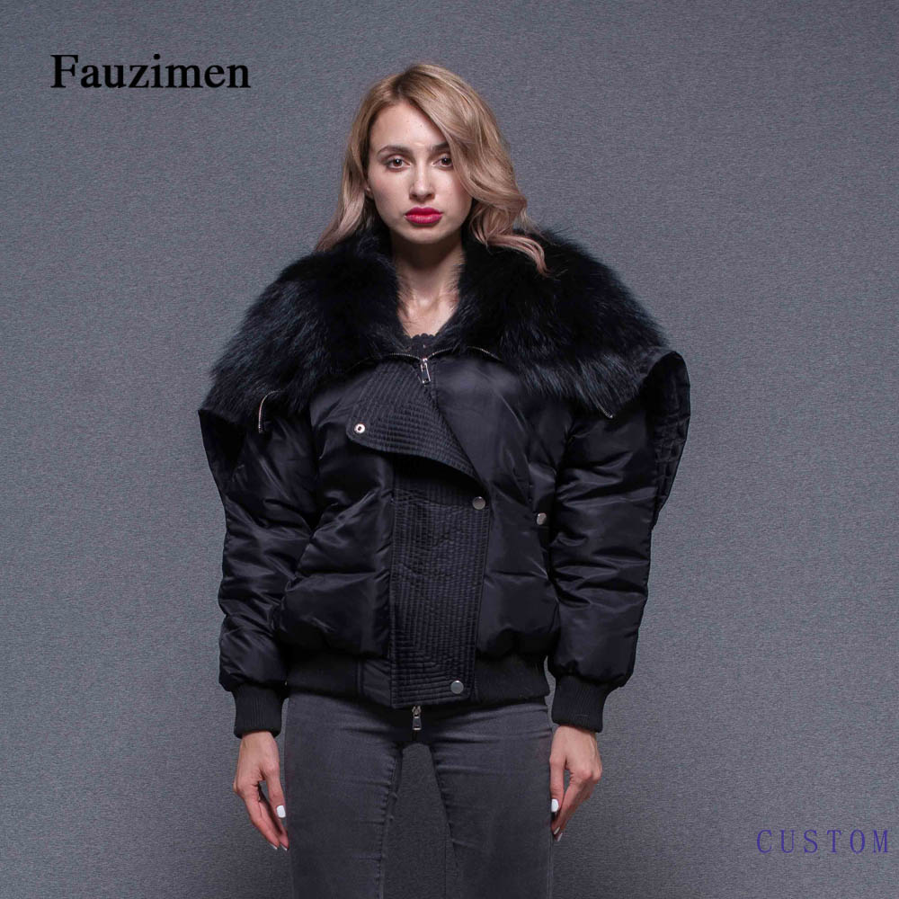 Winter TongXiang thick warm Women Winter Coat Big Raccoon High Quality Fur Hooded Bomber Jacket black