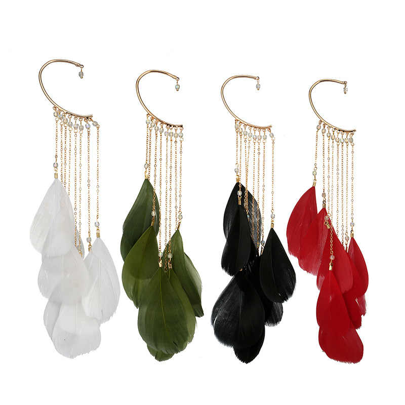 2019 Fashion Jewelry 4 Colors Natural Feather Earrings Unique Single Long Tassel Drop Earrings for Women Pendientes Mujer Moda