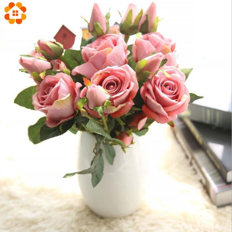 3 Heads/Branch Artificial Silk Rose Flower Bud  Fake Flower Branch For Home Garden Wedding Birthday Party Decoration Supplies fake rose flowers