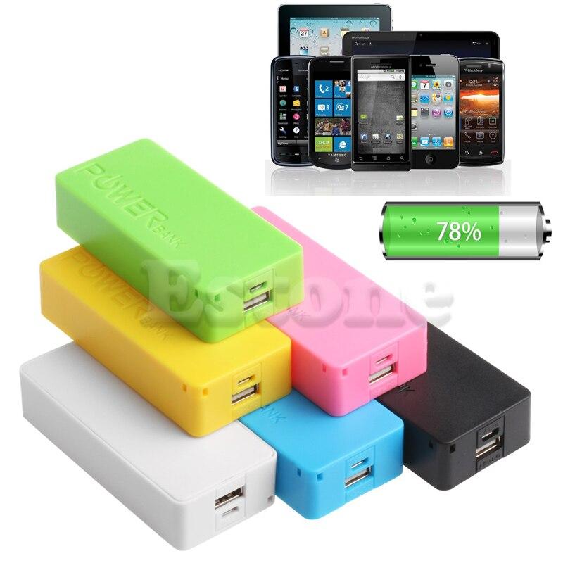 Yellow 2600mAh USB External Power Bank Case Pack Box 18650 Batterie Charger BAF