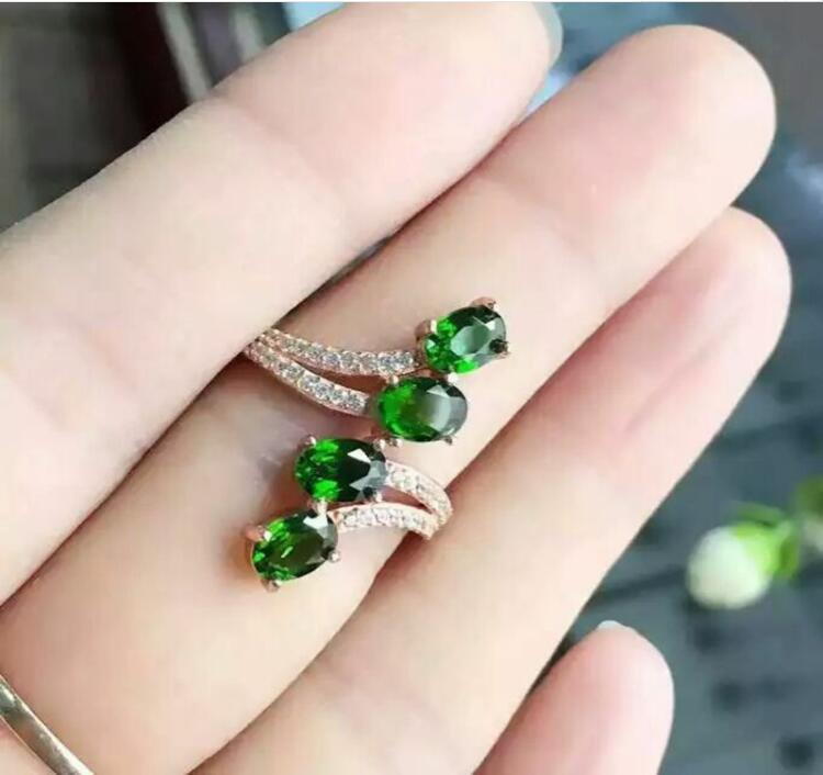 Natural Diopside ring Free shipping Natural green diopside 925 sterling silver Fine jewelry ring For men or women 4*6mm 4pcs  : 91lifestyle