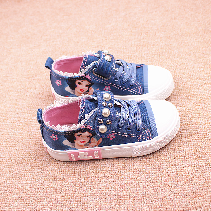 Free Shipping Canvas shoes low denim infant girl flat children boys sneakers kids casual loafers Snow White princess shoes 25-37