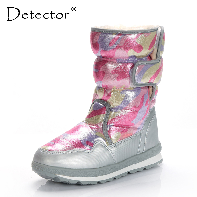 Detector Girl Boy Windproof Waterproof Snow Boots Outdoor Hunting Thickening Thermal Boots Warm Fur Shoes Winter Military Boots