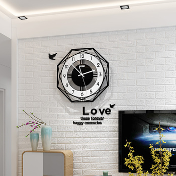 2019 Geometric Northern European Style Wall Clock Modern Design Living Room Creative Fashion Clocks With Wall Sticker Home Decor