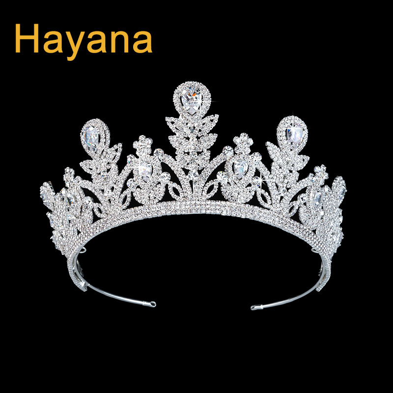 Hadiyana Flower Bridal Crown Cubic Zicons Crystal Tiaras for Women Fashion Wedding Diadem Copper Hair Accessories Crowns BC3807 himstory luxury sparkling cz flower bridal tiaras crown hair accessories big diadem crowns for women girls wedding party holiday