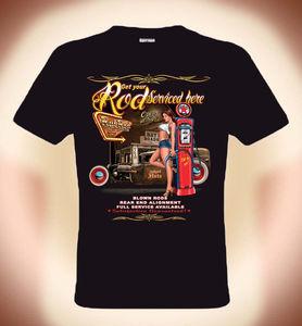 Image 1 - Di Alta Qualità degli uomini Magliette Motore Freak Rockabilly T Shirt Hot Rod Servizio & Hot Girls (3XL Disponibili) O collo T Shirt Adolescente