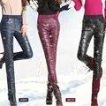 Calor en invierno de Moda, Además de Terciopelo Grueso Pantalones de Costura de Cuero De Imitación de Piel de Espesor Delgado de Lana Terciopelo del Estiramiento de LA PU Pantalones de Cuero