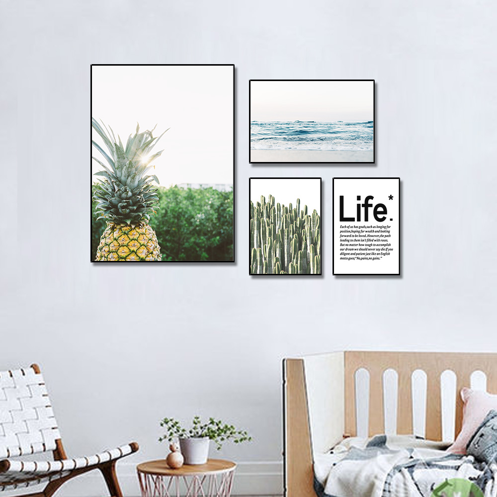 Unframed Multiple Pieces HD Canvas Painting Pineapple The Sea Cactus For Decorative Paintings Living Room Mural Free Shipping