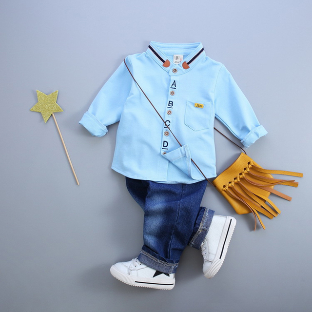 Hot sale Baby Boy Clothes 2016Autumn Kids Boy Clothing Sets Long Sleeve Solid Shirt+Jeans 2Pcs Baby Suits Children Clothing Sets