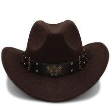 Модная женская черная шерстяная шляпа, ковбойская шляпа в западном стиле, джаз, сомбреро, Hombre Кепка, элегантные женские ковбойские шляпы для женщин, размер 56-58 см