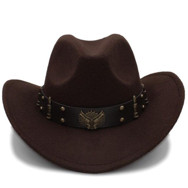 Moda Wome negro lana Chapeu Sombrero de vaquero occidental Jazz Sombrero  Hombre Cap señora elegante vaquera 80ee2e392f6