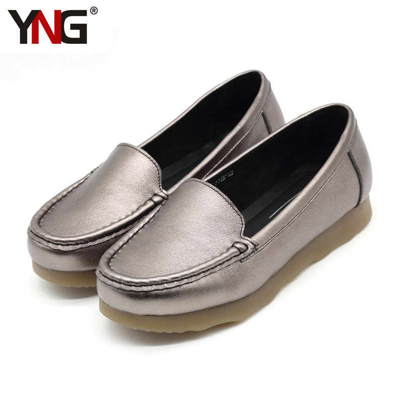 YNG Romyed Women Fashion Silver Genuine Cow Leather Slip Flats Woman Loafers High Quality Woman's Shoes Big Size 36-39 top brand high quality genuine leather casual men shoes cow suede comfortable loafers soft breathable shoes men flats warm