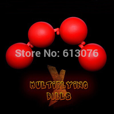 Multiplying Balls (Metal,Red color) One to Four Balls Magic Tricks For Professional Magician Stage Illusion Gimmick Accessories multiplying cigarettes case