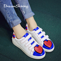 DreamShining Summer White Hook & Loop Shoes Korean Flat Shoes Spell Color Female Love Stamp Flat Leisure Shoes Size 35-39