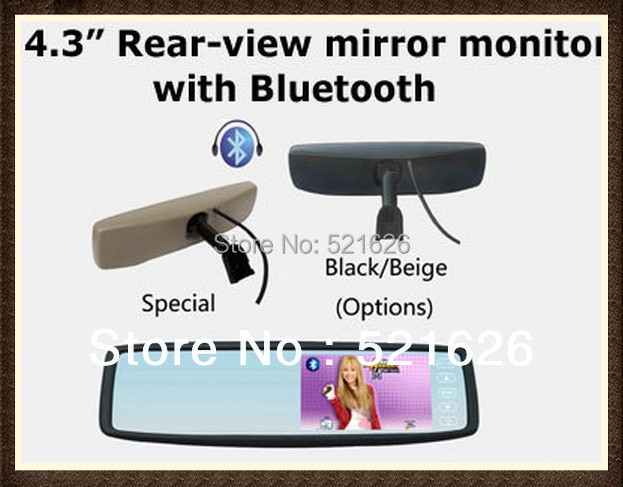 Hot! Special 4.3inch original rear view mirror car monitor with Bracket+ Bluetooth
