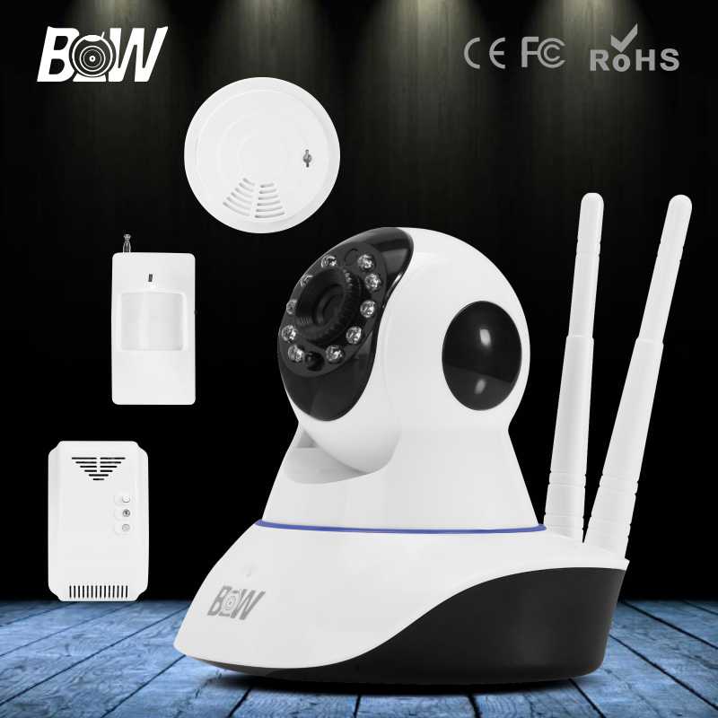 BW HD 720P WiFi IP Camera Wireless + Infrared Motion Sensor + Smoke & Gas Detector Onvif Security Camera Surveillance bw wireless wifi door