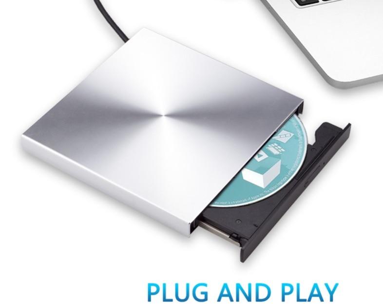 USB 3.0 DVD Burner Aluminum Alloy External CD Player Slim Portable Optical Drive For MacBook Notebook Laptop/Windows